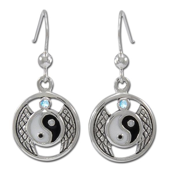 øreringe yin yang med blå topas - pr par fra N/A fra bog & mystik
