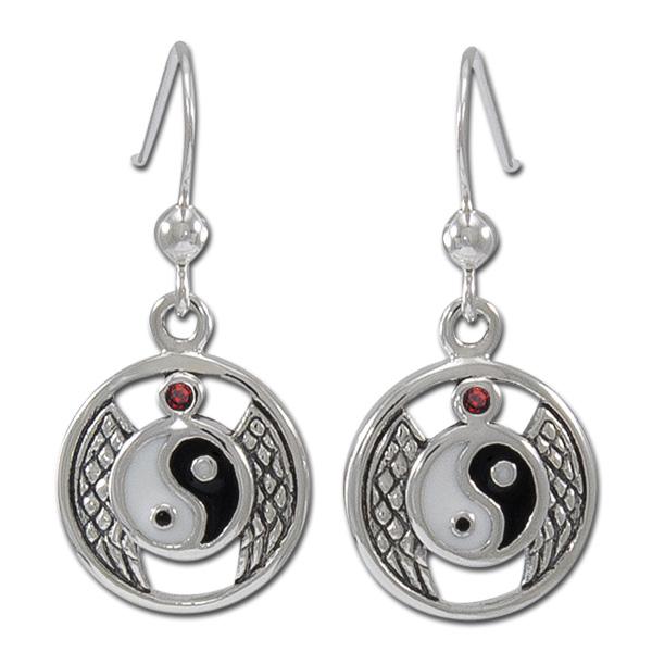 Øreringe Yin Yang med Rød Granat - pr par