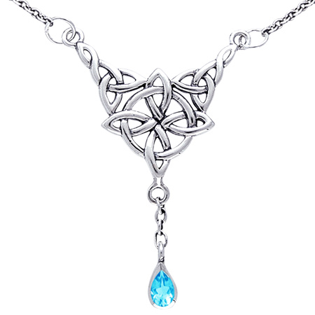 Halskæde med keltisk livshjul og blå topas fra N/A fra bog & mystik