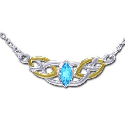 Halskæde med keltiske knuder og blå topas fra N/A fra bog & mystik