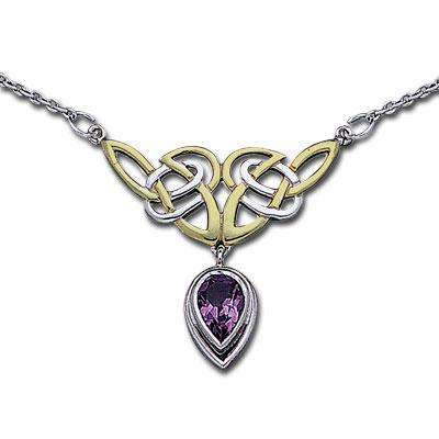 Image of   Halskæde med Keltiske knuder og Ametyst