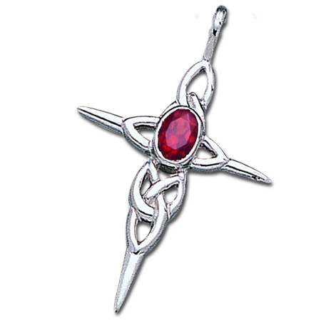 N/A Keltisk kors med rubin - u/kæde fra bog & mystik