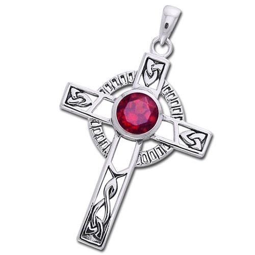 N/A Keltisk kors med rubin - 40mm - u/kæde fra bog & mystik