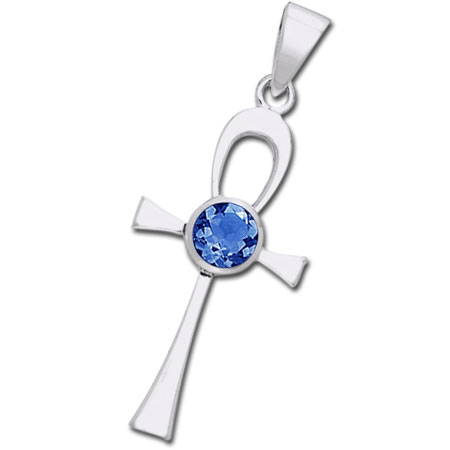 N/A – Ankh kors med safir - u/kæde på bog & mystik