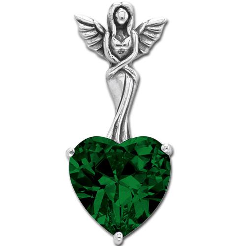 N/A Vedhæng engel med hjerte - grøn - 30mm - u/kæde på bog & mystik