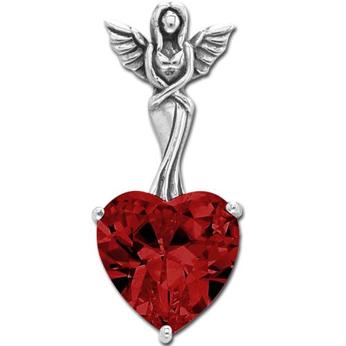 N/A – Vedhæng engel med hjerte - rød - 30mm - u/kæde fra bog & mystik