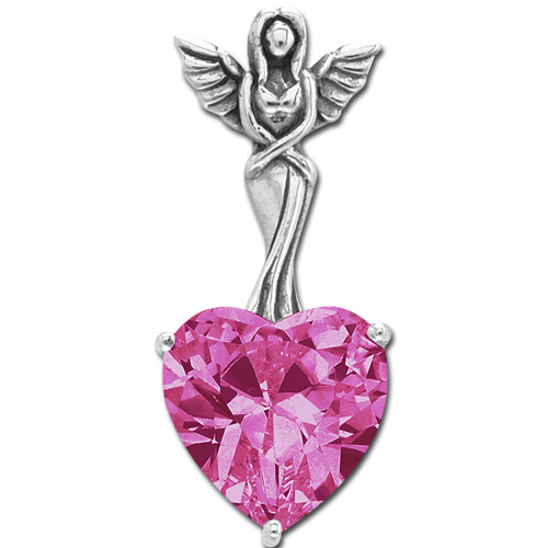 N/A – Vedhæng engel med hjerte - pink - 30mm - u/kæde på bog & mystik
