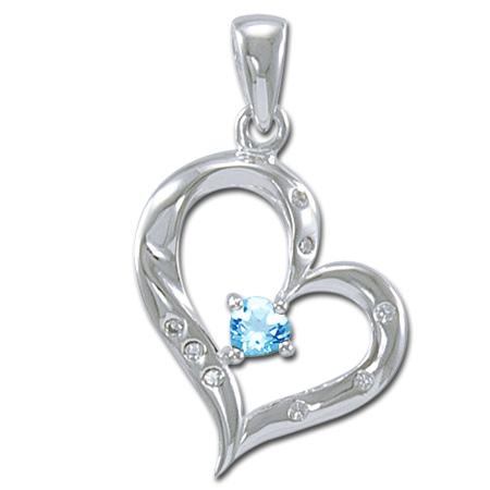 N/A – Vedhæng hjerte med blå topas - u/kæde fra bog & mystik