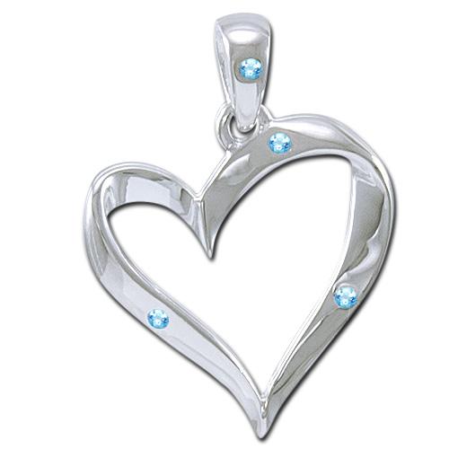 Vedhæng hjerte med blå topas - u/kæde fra N/A fra bog & mystik