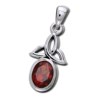 N/A – Vedhæng med triquetra - treenighedssymbolet og rød granat - 24mm - u/kæde på bog & mystik