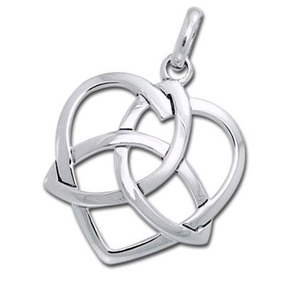 N/A Vedhæng hjerte med triquetra - treenighedssymbolet - 31mm - u/kæde på bog & mystik