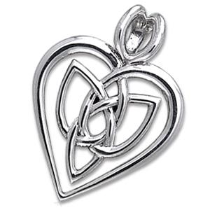 N/A – Vedhæng hjerte med triquetra - treenighedssymbolet - 29mm - u/kæde på bog & mystik