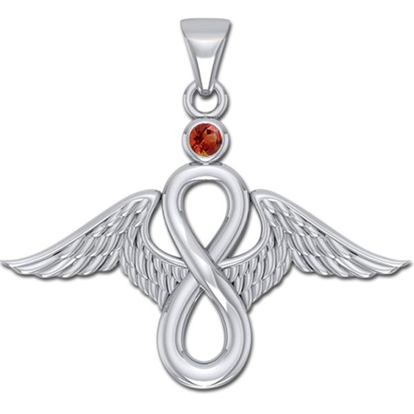 Image of   Englevinger - Uendelighedstegnet - vedhæng med Rød Granat - u/kæde