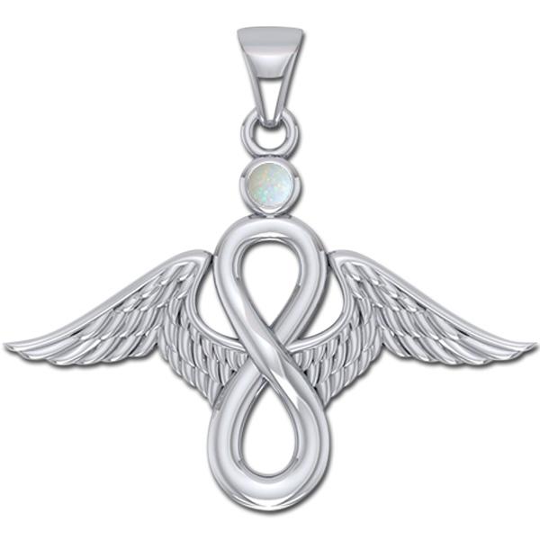 Image of   Englevinger - Uendelighedstegnet - vedhæng med Opal - u/kæde