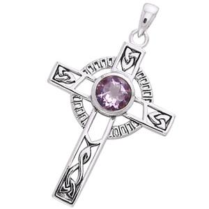 Keltisk kors med Ametyst - 40mm - u/kæde