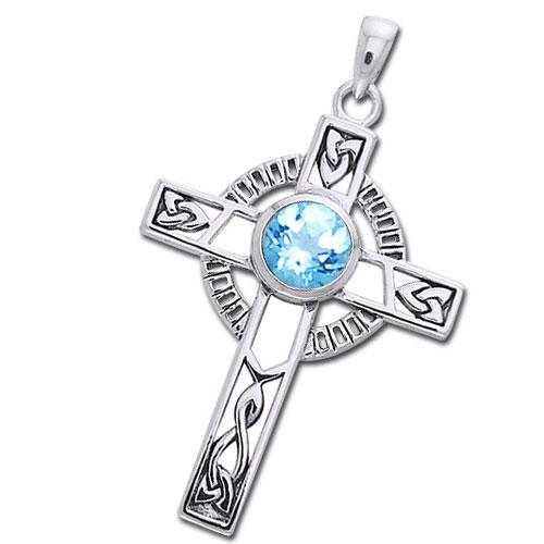 N/A – Keltisk kors med blå topas - 40mm - u/kæde på bog & mystik