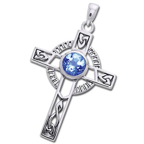 N/A Keltisk kors med safir - 40mm -  u/kæde på bog & mystik