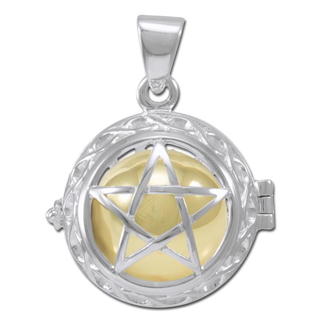 N/A Engleklokke / harmony ball med pentagram - u/kæde på bog & mystik