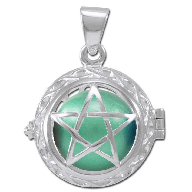 N/A – Engleklokke / harmony ball med pentagram - u/kæde på bog & mystik