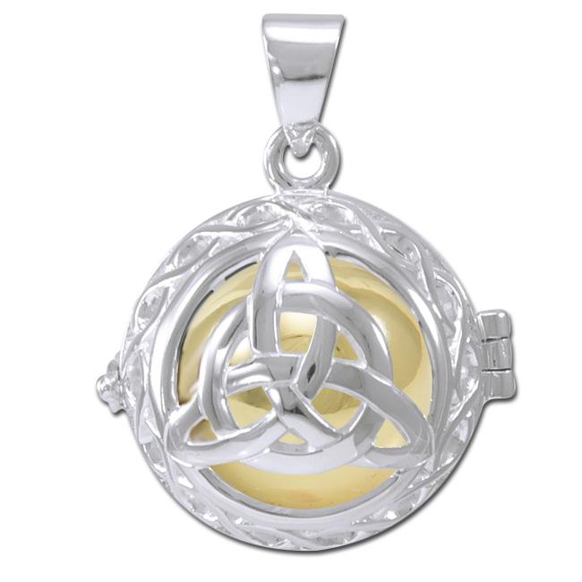 N/A – Engleklokke / harmony ball med treenighedssymbol - u/kæde fra bog & mystik