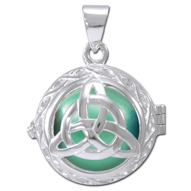N/A – Engleklokke / harmony ball med treenighedssymbol - u/kæde på bog & mystik