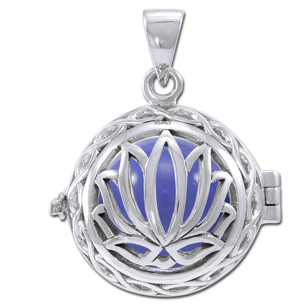 N/A Engleklokke / harmony ball med lotus blomst - u/kæde fra bog & mystik
