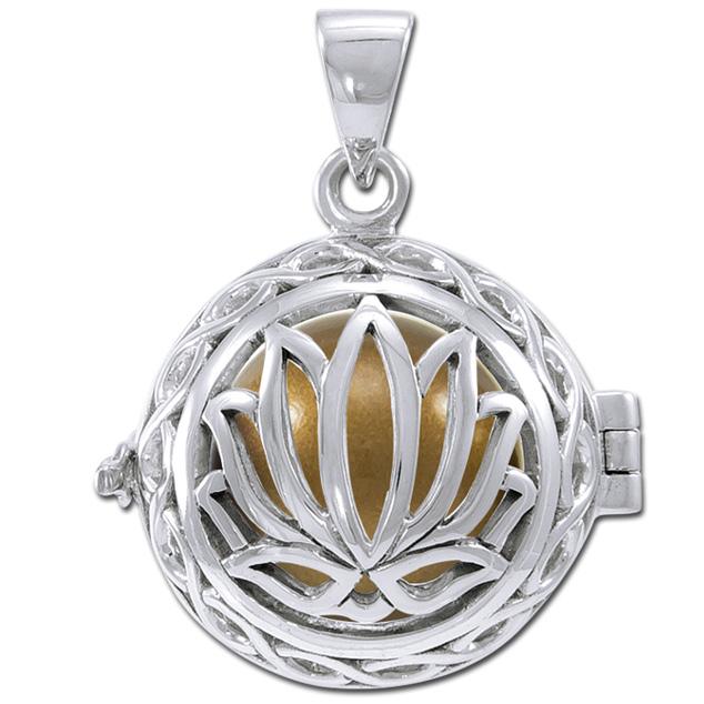 N/A Engleklokke / harmony ball med lotus blomst - u/kæde på bog & mystik