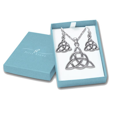 N/A – Smykkesæt triquetra - treenighedssymbolet - m/kæde på bog & mystik
