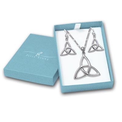 N/A Smykkesæt triquetra - treenighedssymbolet - m/kæde fra bog & mystik