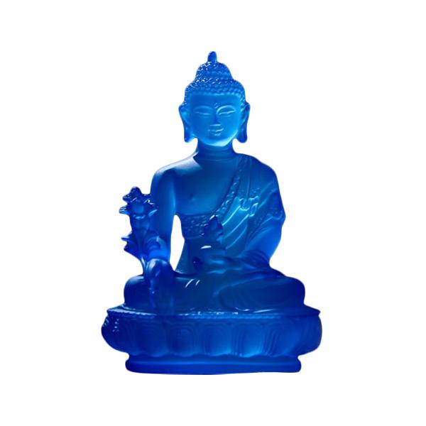 Image of   Buddha figur i blå - 18,5cm