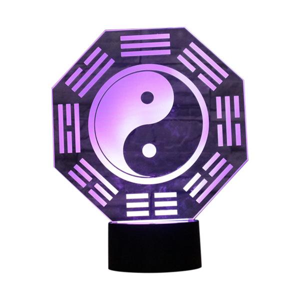 Lampe - Nat lys med Yin Yang
