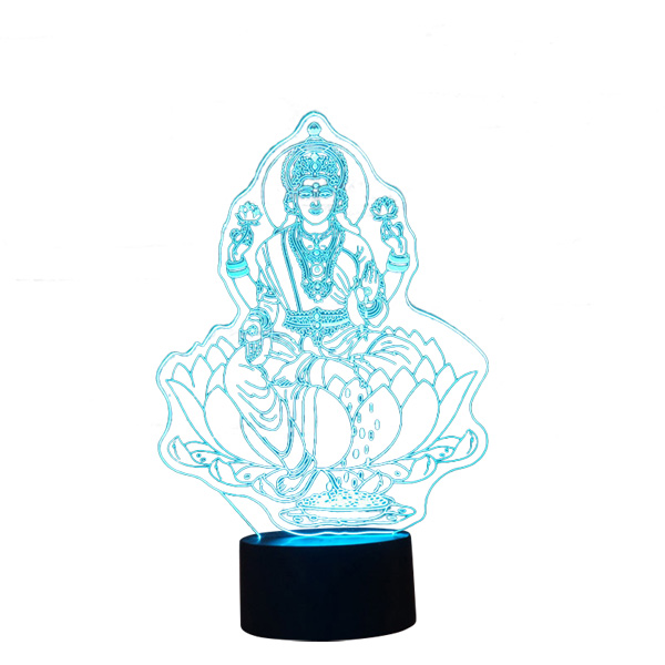 Lampe - Nat lys med Kuan Yin