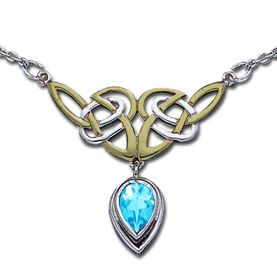 N/A – Halskæde med keltiske knuder og blå topas på bog & mystik