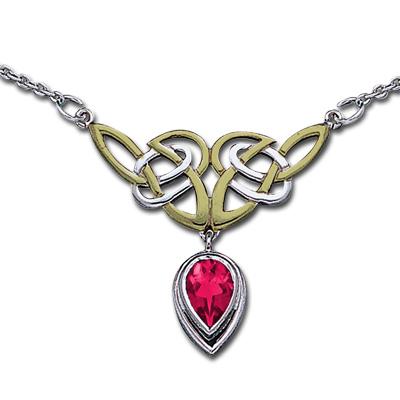 Halskæde med keltiske knuder og rubin fra N/A fra bog & mystik