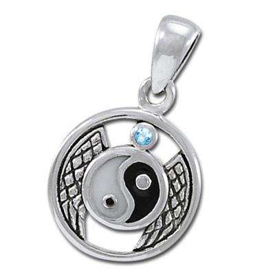 N/A – Yin yang vedhæng med blå topas - u/kæde på bog & mystik