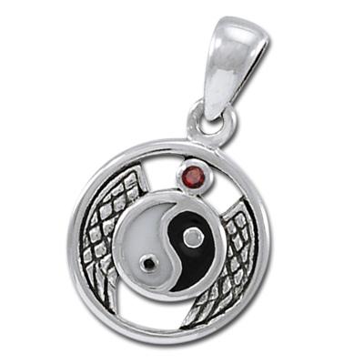 N/A – Yin yang vedhæng med rød granat - u/kæde fra bog & mystik