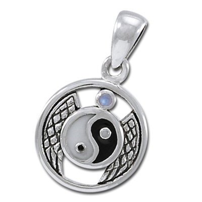 Yin Yang vedhæng med Månesten - u/kæde