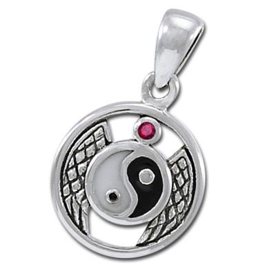 Yin yang vedhæng med rubin - u/kæde fra N/A fra bog & mystik